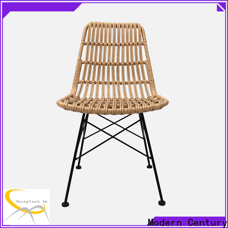 Modern Century white rattan dining chairs from China