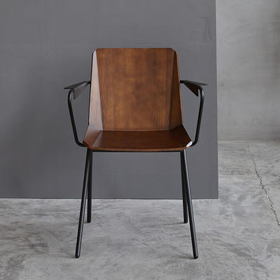 Wooden Chair Amanda Arm W575×D515×H795.SH460 Steel Frame With Solid Ash Wood Seat And Back
