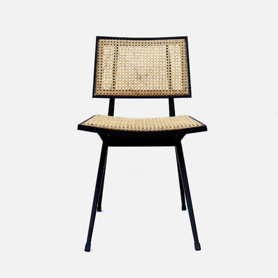 Rattan Chair Nora W460×D500×H780 Rattan With A Black Powder Coated Metal Frame
